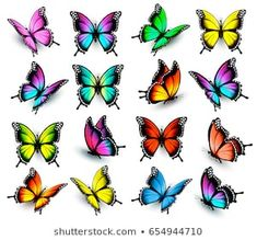My works are fully editable, vector objects se… Colorful butterflies set. My works are fully editable, vector objects separated and grouped, gradient mesh used. If you ne Colorful Butterfly Tattoo, Butterfly Drawing, Butterfly Nail, Butterfly Pictures, Butterfly Tattoo Designs, Butterfly Painting, Butterfly Wallpaper, Drawings Of Butterflies, Butterfly Sleeve Tattoo