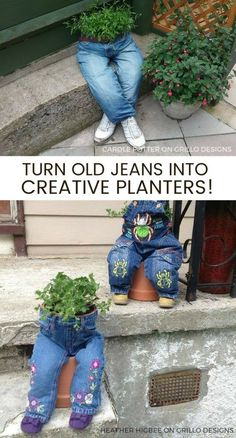 23 Repurposed Planter Ideas For Your Home & Garden Clever planter ideas - Browse this awesome collection of repurposed and DIY planters for your home and garden. Be inspired by creativity! Diy Planters, Garden Planters, Planter Ideas, Balcony Gardening, Garden Crafts, Garden Projects, Garden Tools, Diy Garden, Diy Crafts