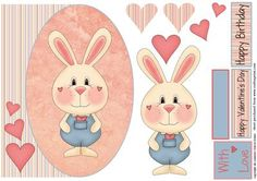 Bunnies Love 1 on Craftsuprint designed by Eileen Deliot - A oval cardfront with bunnies with decoupage - Now available for download!