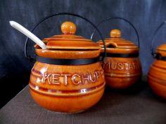 Vintage Condiment Set 3 Pots Enesco 1950s. $12.97, via Etsy. Condiment Sets, Burgers, Pots, 1950s, Sandwiches, Unique Jewelry, Handmade Gifts, Vintage, Hamburgers