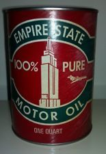 RARE VINTAGE MINT! EMPIRE STATE MOTOR OIL QUART OIL CAN