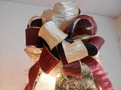 Christmas tree topper bow Crinkle ribbons by creativelycarole