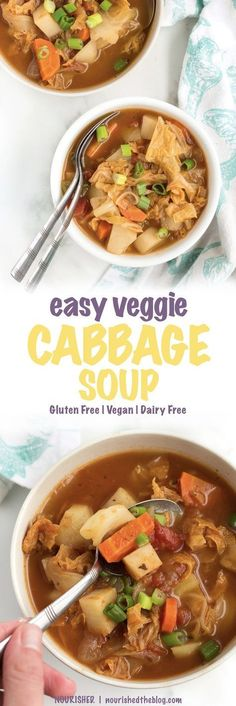 Easy Veggie Cabbage Soup | Perfect veggie-packed soup recipe for a busy week. Loaded with all the best wintery vegetables - cabbage, onions, garlic and carrots - this soup is good and good for you too. | vegan, gluten free, dairy free, easy to make |