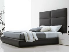 Fabric double bed with upholstered headboard DREAM | Imitation leather bed by Poliform | design Marcel Wanders