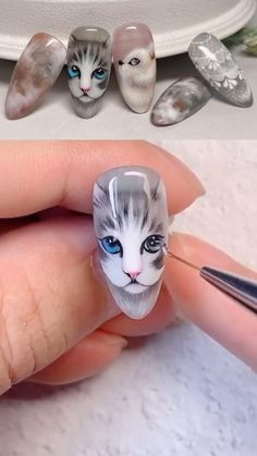 Nail Art Designs Videos, Gel Nail Art Designs, Nail Design Video, Nail Art Videos, Cat Nail Art, Animal Nail Art, Cat Nails, Nail Art Diy, Pretty Nail Art