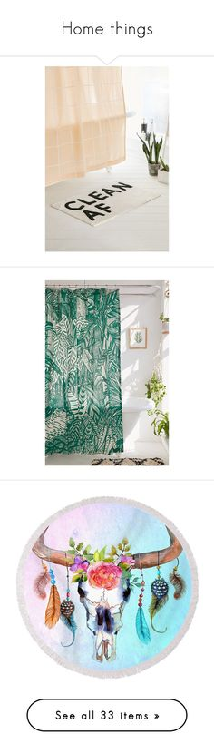 """""""Home things"""" by bobbi-lane ❤ liked on Polyvore featuring home, bed & bath, bath, bath rugs, cotton bathroom rugs, cotton bath mats, urban outfitters, shower curtains, country style shower curtains and country shower curtains"""