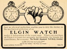1901 Ad Elgin National Mechanical Watches Ruby Jeweled