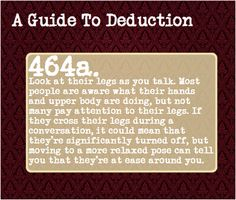 """A Guide To Deduction, """"How to tell if a person is attracted to you by..."""