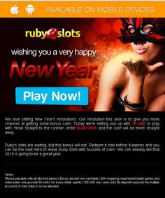 #Ruby #Slots #Casino offer 75 USD absolutely free welcome you on occasion of #Happy #New #Year.No Deposit Required!Wish you a VERY #HAPPY #NEW #YEAR #2015 for all player. To take the advantage of this offer click on the above image,use Redeem coupon code: WDPWB then 50 USD free instantly added into your #casino account.