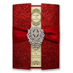 Luxury Shiny Red Wedding Invitation Cards royal wedding invitation Red Wedding…
