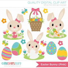 Easter Bunny Pink Clip Art / Digital Clipart by MyClipArtStore, $4.50