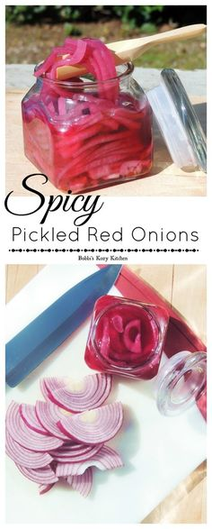Spicy Picked Red Onions - So simple, these bright, crisp, spicy little slices of… Red Onion Recipes, Veggie Recipes, Mexican Food Recipes, Healthy Recipes, Healthy Food, Healthy Eating, Pickeled Red Onions, Pickled Onions, Veggie Side Dishes