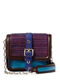 Color-Block Leather & Knit Crossbody by M Missoni
