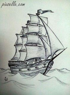 Trendy Boats Tattoo Drawing - Dibujos a lápiz - Drawing . Boat Drawing, Pencil Sketch Drawing, Ship Drawing, Art Drawings Sketches Simple, Pencil Art Drawings, Tattoo Drawings, Painting & Drawing, Drawing Drawing, Pencil Drawing Tutorials