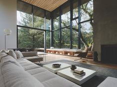 [Room] Tall and spacious living room opening up to a patio and garden surrounded with mature oak trees Orinda Contra Costa County California Dream Home Design, House Design, Wall Design, Design Design, Living Room Designs, Living Room Decor, Dining Room, Interior Architecture, Interior Design