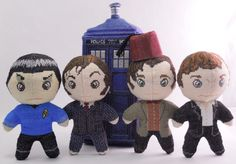 cross-stitch dolls and tardis.  patterns available in various shops  http://www.etsy.com/shop/robinsdesign  http://www.artfire.com/ext/shop/studio/RobinsDesign  http://www.shopdelighted.com/shop/robinsdesign