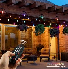 Wirelessly control, customize, and illuminate spaces year-round with the brilliance of Enbrighten Seasons color changing string lights by Jasco. Color Changing Lights, The Next Big Thing, Led String Lights, Season Colors, Backyard, Patio, Color Change, Christmas Tree, Seasons