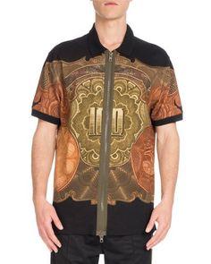 GIVENCHY Columbian-Fit Money-Print Full-Zip Polo Shirt, Black. #givenchy #cloth #