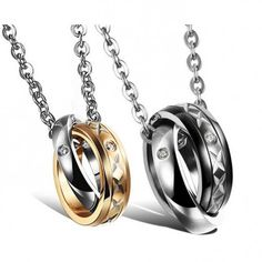 d302d36bf $30.95-Fashion Ring Necklaces For Couple Titanium Steel Pendant Matching  Necklaces For Couples, Couple