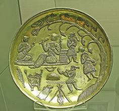 Sassanian silver gilt dish. From  Tabaristan,south of the Caspian -Sea,where after the  :Muslim conquest of :Iran,metalwork  production continued to reflect the preceding :Persian culture. Tabaristan,,northern :Iran,8th cent.