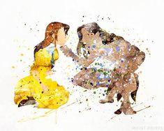 Tarzan and Jane, Tarzan Print - Prices from $9.95. Available at InkistPrints.com - #art#watercolor#babyart #decor#nursery#Tarzan #Disney
