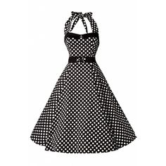 Collectif Clothing 50s Stella Sweetheart Doll White Polka Dot swing... ($90) ❤ liked on Polyvore