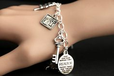 Real Estate Bracelet. Real Estate Agent Charm Bracelet. Realty Bracelet. Silver Bracelet. Handmade Jewelry. by GatheringCharms from Gathering Charms by Gilliauna. Find it now at http://ift.tt/2pEbHOw!