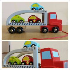 Wooden Car Carrier, Pull along toy, Transporter, Cars, Personalised Toy Use Of Capital Letters, Pull Along Toys, Car Carrier, Wooden Car, Kid Names, Kids Toys, Cars, Children, Etsy