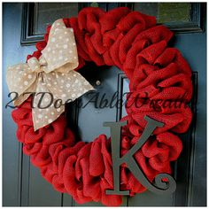 Personalized Monogram Burlap Wreath available by 2ADoorAbleWreaths
