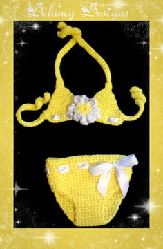 Yellow Daisy Crochet Baby Bikini Swimsuit Size by DelancyDesigns, $20.00