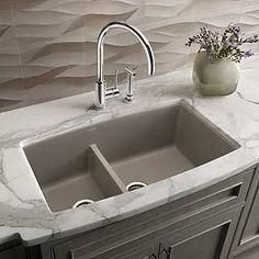 Blanco Performa 33'' x 19'' Silgranit II 1.75 Double Bowl Undermount Kitchen Sink; Truffle, Brown