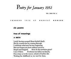 "December 15, 2013 marks the 100th birthday of Muriel Rukeyser. ""A Birth,"" from the January 1952 issue of POETRY."