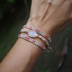 3 times Pink Rose Quartz mix beaded Wrap bracelet Boho Wrap