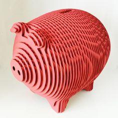 Laser Cut Cardboard Piggy Bank Magnetic Opening by gaBotteShop on Etsy https://www.etsy.com/listing/237942113/laser-cut-cardboard-piggy-bank-magnetic