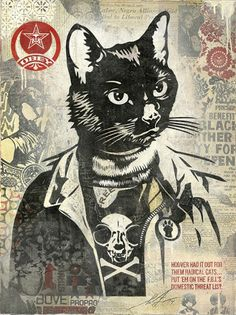 """Shepard Fairey """"Radical Cat"""" #catart #catshowla #lacatshow #shepardfairey #radicalcat #ihavecat Shepard Fairey """"RadicalCat http://ihavecat.com/2014/01/16/cat-art-show-pieces-released-for-preview/"""