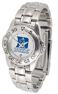 Duke Sport Women's Steel Band Watch - This handsome, eye-catching watch comes with a stainless steel link bracelet. A date calendar function plus a rotating bezel/timer circles the scratch resistant crystal. Sport the bold, colorful, high quality logo with pride.