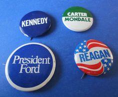 Vintage U.S. Election Campaign Buttons Lot of Four (4)