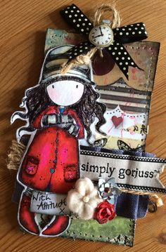 Gorjuss tag - a mini piece of art. without the cat on the stamp. Crafts For Girls, Diy And Crafts, Paper Crafts, Scrapbooking, Scrapbook Cards, Vintage Paper Dolls, Card Patterns, Kids Cards, Tag Art