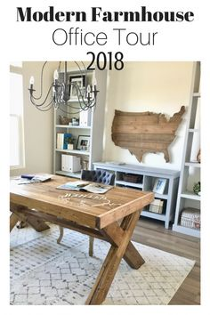 Office Tour - The Blue Hue House - Office Furniture Farmhouse Office, Modern Farmhouse Bathroom, Farmhouse Furniture, Home Office Furniture, Industrial Farmhouse, Farmhouse Style, Furniture Decor, Farmhouse Decor, Home Office Design