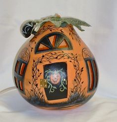 Light Up Halloween Gourd House  Hand Painted by FromGramsHouse