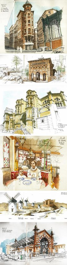 Luis Ruiz is an artist from Málaga, Spain who draws wonderful location sketches, particularly… - architecture Travel Sketchbook, Art Sketchbook, Art Sketches, Art Drawings, Urban Sketchers, Architecture Drawings, Malaga, Watercolor Art, Concept Art