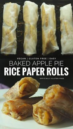 foods and desserts 5 Ingredient Gluten Free & Vegan Baked Apple Pie Rice Paper Rolls an Easy Dessert Made with Rice Paper and an Apple Gluten Free Sweets, Gluten Free Cooking, Dairy Free Recipes, Cooking Recipes, Gluten Free Apple Pie, Gluten Free Rolls, Gluten Free Wraps, Eating Gluten Free, Gluten Free Tart Recipe
