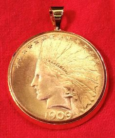 Gold Plate American Indian Head War Bonnet Eagle Coin Bezel Pendant for Necklace #Handmade #Pendant