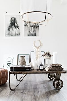 What a cute idea, cart in place of a coffee table