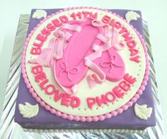 Purple and Pink fondant covered cake with 2D ballerina shoes