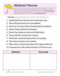 ... abstract nouns on Pinterest | Abstract nouns, Worksheets and Abstract