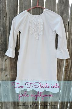 Girl's Nightgown Made From Men's T-Shirts
