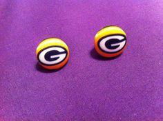 Packers Fan Earrings Green Bay Packers Fabric by ButtonsAFluttur, $6.50
