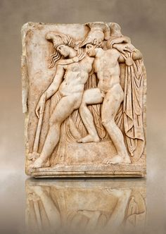 Roman relief sculpture, Aphrodisias, Turkey. Achilles supports the dying Amazon queen Penthesilea whom he has mortally wounded. Her double headed axe slips from her hands. The queen had come to fight against the Greeks in the Trojan war and Achilles fell in love with her.