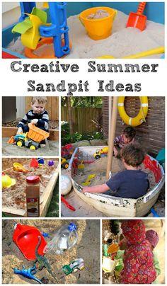 Creative Summer Sandpit Ideas - In The Playroom , Outdoor Fun For Kids, Summer Fun For Kids, Outdoor Activities For Kids, Backyard For Kids, Preschool Activities, Backyard Ideas, Toddler Preschool, Toddler Crafts, Sandpit Ideas